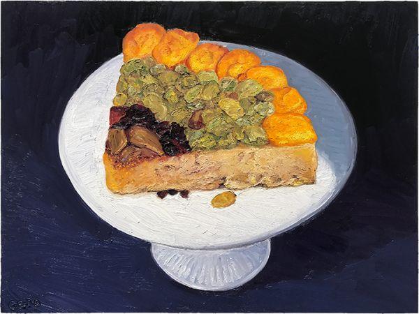 Occelli con Frutta e Grappa di Moscato, original artwork by Mike Geno