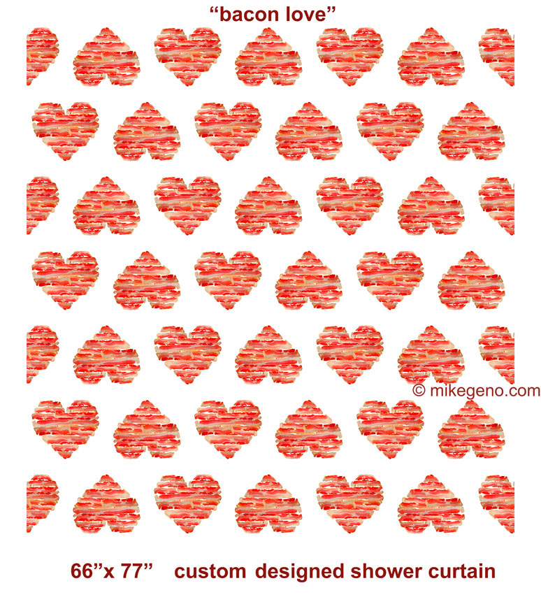 Charmant Bacon Love Shower Curtain, Original Artwork By Mike Geno